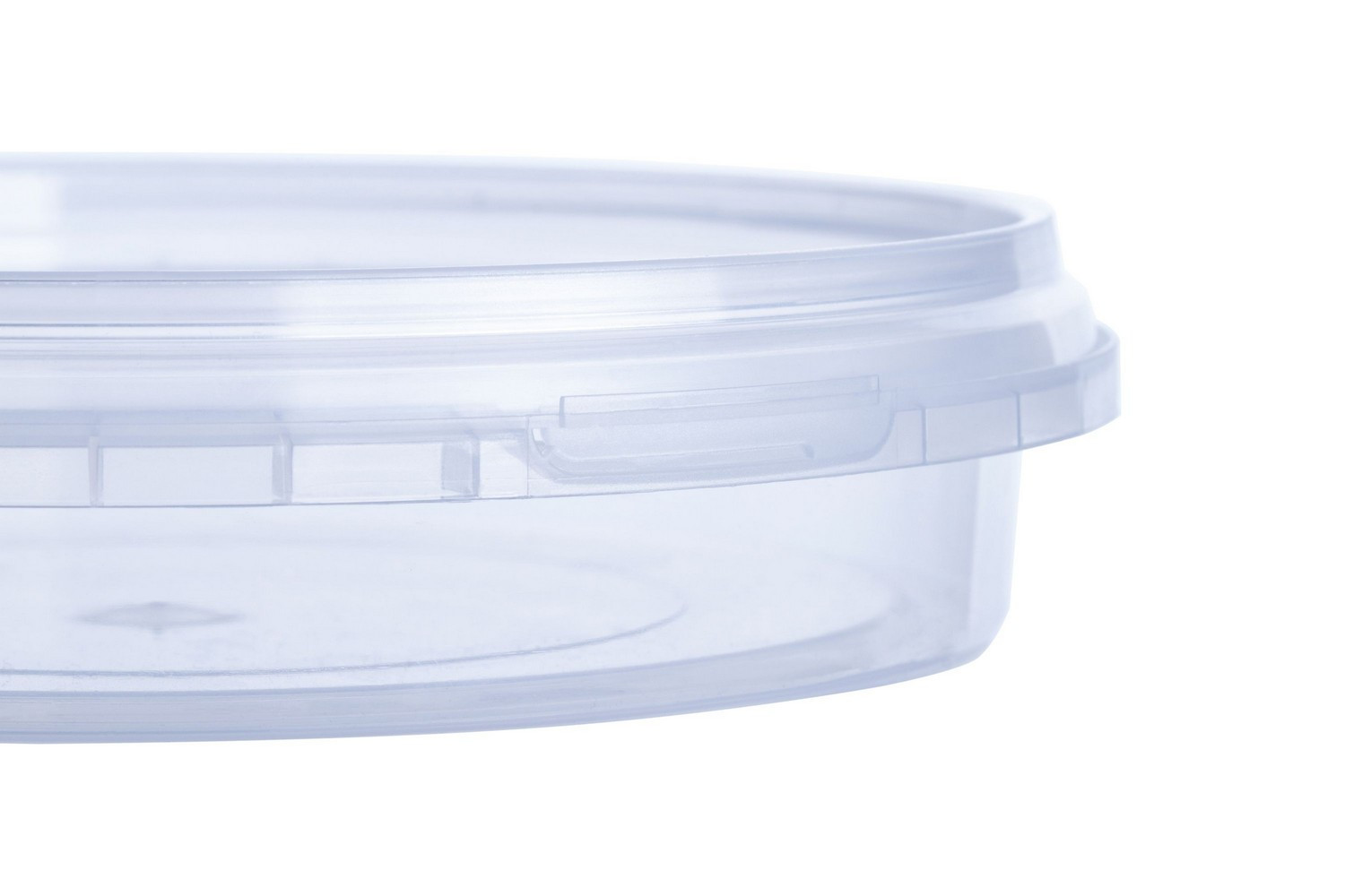Round PP clear coloured fod containers 180 ml capacity with tamper evidence