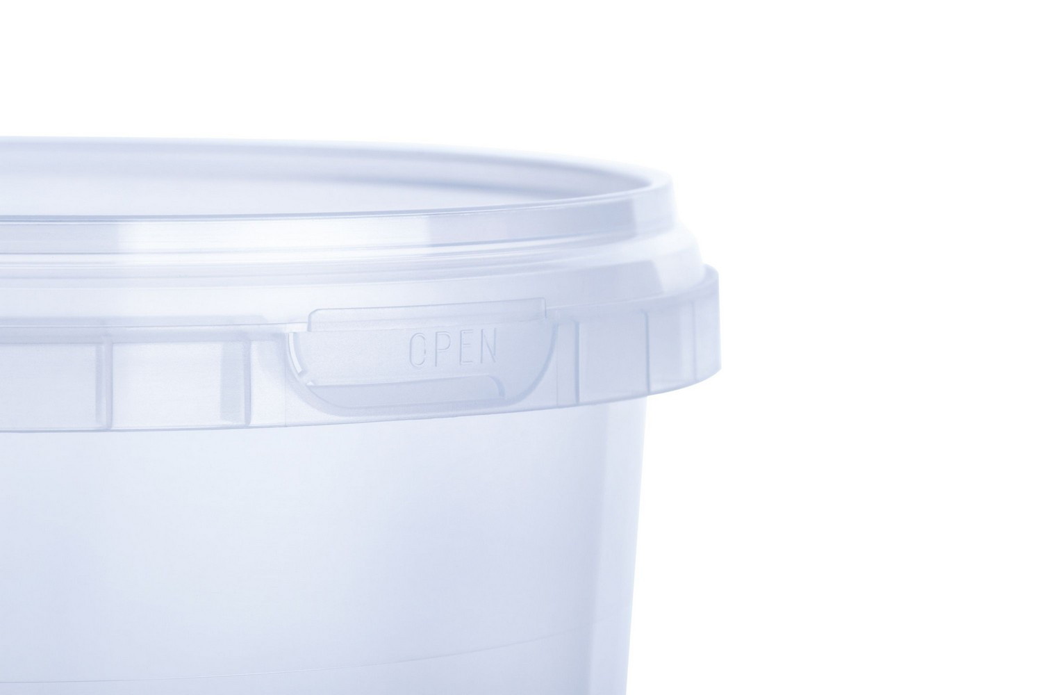 Round disposable plastic buckets with lids handles 0,8 l high quality for restaraunts